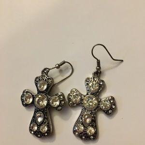 Boutique bling cross earrings